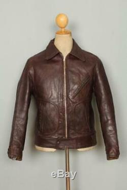 Vtg 1940s SCHOTT PERFECTO Horsehide Leather Motorcycle Jacket Small