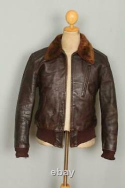 Vtg 1950s AROMEL Horsehide Leather Flight Motorcycle Jacket Medium