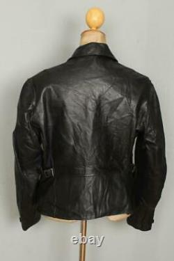 Vtg 1950s HORSEHIDE Half Belt Leather Sports Motorcycle Jacket Medium