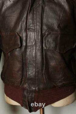 Vtg 1950s HORSEHIDE Leather Flight Motorcycle Jacket Large