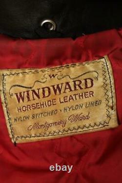 Vtg 1950s WINDWARD 2 Star HORSEHIDE Leather Motorcycle Jacket 40 Medium