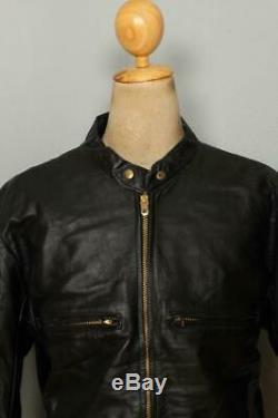 Vtg 1960s BUCO Cafe Racer Leather Motorcycle Jacket Size 44/46