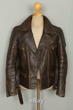 Vtg 40s GERMAN Goatskin Leather Motorcycle Luftwaffe Officers Flight Jacket
