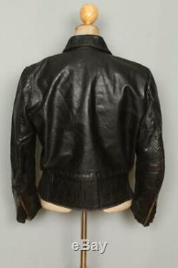 Vtg 40s GERMAN Leather Cyclist Motorcycle Luftwaffe Flight Jacket Small/Medium