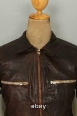 Vtg 40s WWII GERMAN French Leather Cyclist HARTMANN Jacket Luftwaffe S/XS