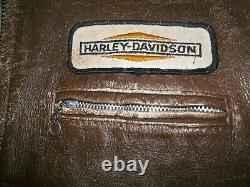 Vtg 50's-60's Brown HORSEHIDE Motorcycle CAFE RACER Leather JACKET Harley Patch