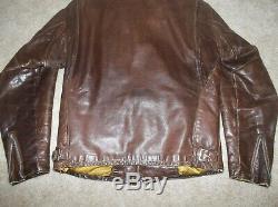 Vtg 60's SCHOTT Brown 641-141 CAFE RACER Steerhide LEATHER Motorcycle JACKET USA