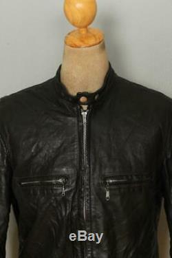 Vtg 60s BROOKS Gold Label Leather Cafe Racer Motorcycle Jacket Large