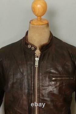Vtg 60s LESCO Leather Cafe Racer Motorcycle Jacket Medium