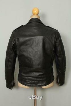 Vtg 60s SANDORS Brooks PJ-27 Police Leather Motorcycle Biker Jacket Small
