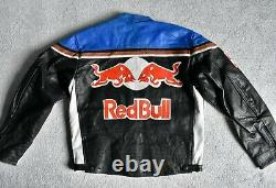 Vtg 80s RED BULL Leather Racing Team Motorcycle Jacket Alpinestars Shell L/XL