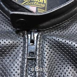 Vtg 90s Vanson Leather Breeze perforated leather motorcycle jacket XL summer blk