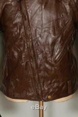 Vtg BATES California Brown Leather Motorcycle Sports Jacket Medium