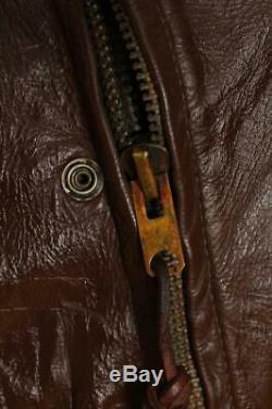 Vtg BATES California Brown Leather Motorcycle Sports Jacket Medium