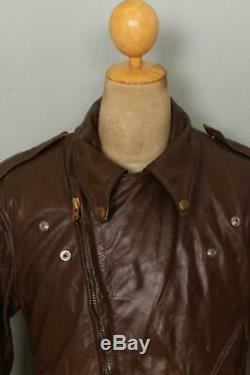 Vtg BATES California Brown Leather Motorcycle Sports Jacket Size 42/44