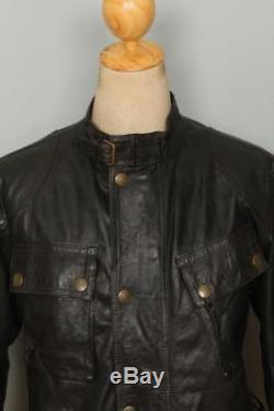 Vtg BELSTAFF 1966 Panther Black Leather Motorcycle Jacket Medium