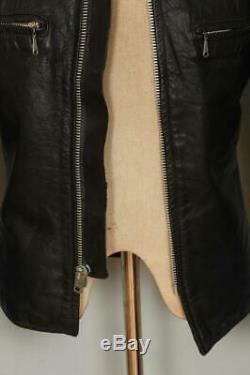 Vtg BROOKS Gold Label Black Leather Cafe Racer Motorcycle Jacket XS