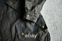 Vtg Barbour International A7 Black Wax Motorcycle Jacket Coat Biker C40 / 102CM