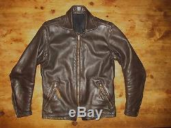 Vtg Custom Made Langlitz Brown Thick Leather Motorcycle Jacket Talon Zips Mens S