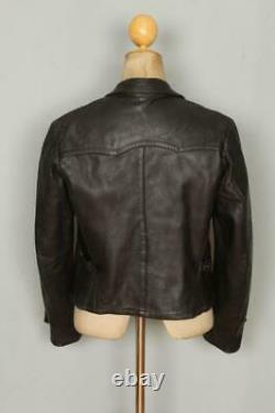 Vtg GERMAN Leather Cyclist HARTMANN Flight Jacket Luftwaffe Small