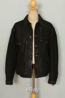 Vtg LEVIS Black Leather Western Motorcycle Trucker Jacket Size Large
