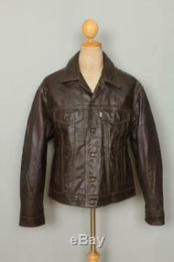Vtg LEVIS Brown Leather Western Motorcycle Trucker Jacket Size Large