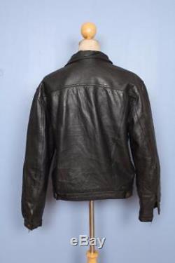 Vtg LEVIS STRAUS Black Leather Western Motorcycle Trucker Jacket Medium