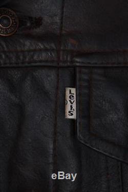 Vtg LEVIS STRAUS Brown Leather Motorcycle Jacket Western Medium