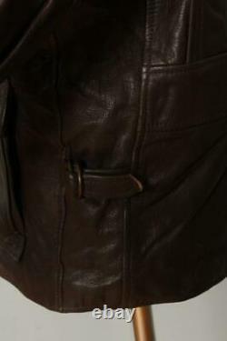 Vtg LL BEAN Sheepskin Lined Half Belt Sports Motorcycle Leather Jacket Small