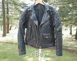 Vtg Langlitz 10 Pocket Padded Black Leather Motorcycle Jacket USA 1992 Scovill