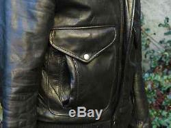Vtg. Lesco Leather Black Sherling Lined Motorcycle Jacket, Talon Zipper, Size 36
