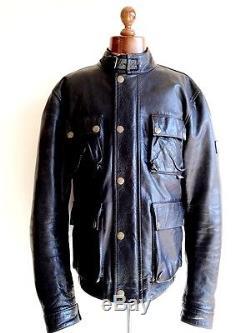 Vtg Mens Black LEATHER BELSTAFF GOLD LABEL Motorcycle Biker Jacket Coat Sz LARGE
