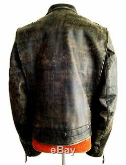 Vtg Mens RALPH LAUREN POLO RRL Leather Motorcycle Biker Police Bike Jacket Coat