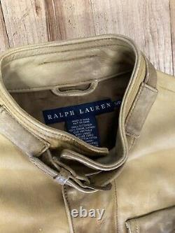 Vtg Ralph Lauren Motorcycle Leather Jacket Moto Small Tan Distressed
