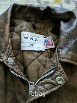 Vtg SCHOTT 674SP WW2 A2 FLIGHT Bomber LEATHER Motorcycle JACKET 42