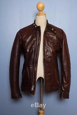 Vtg SCHOTT Brown CAFE RACER Leather Motorcycle Jacket Fleece Lining S/M