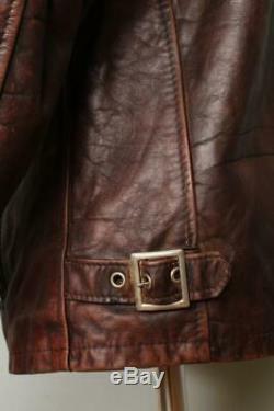 Vtg SCHOTT Brown CAFE RACER Leather Motorcycle Jacket Size 38