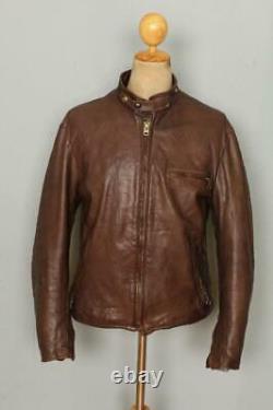 Vtg SCHOTT Brown Cafe Racer Leather Motorcycle Jacket Size 42 Large