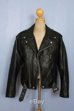 Vtg SCHOTT Dur-o-jac Leather Motorcycle Jacket Fleece Liner Size 42