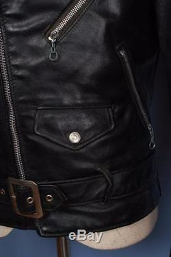 Vtg SCHOTT PERFECTO Black Belted Leather Motorcycle Jacket Size Small 36