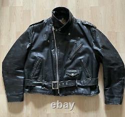 Vtg Schott 618 Perfecto Steerhide Leather Jacket Size 48