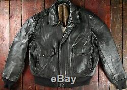 Vtg Schott Brown Leather A-2 Flight Bomber Jacket Motorcycle USA Biker XL 46