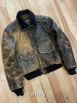 Vtg Schott Nyc Leather Jacket Made In USA Aviator Pilot Size 44 Brown Bomber
