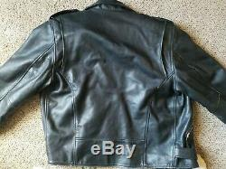WILSON'S Black Leather Motorcycle Jacket belted Zippers Men's size large