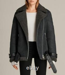 WOW AllSaints Ladies HAWLEY OVERSIZED SHEARLING Leather Biker Jacket XS Small