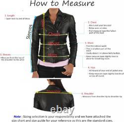 Women 100% Real Sheepskin Leather Jacket Motorcycle Slim Biker Jacket