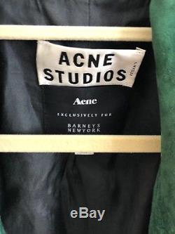 Women's Acne Studios green suede biker jacket