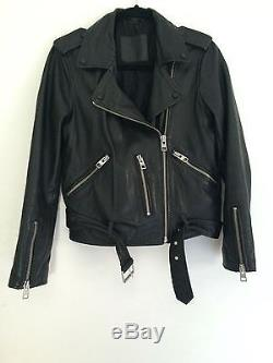 Women's AllSaints Black Leather Motorcycle Balfern Jacket, Size 6 (US)