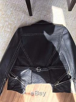Womens Alexander McQueen Leather Jacket with Studs- Sz 44 MSRP $4895