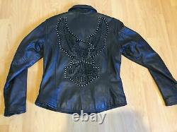 Womens Black Leather Harley Davidson Motorcycle Bling Riding Jacket Medium